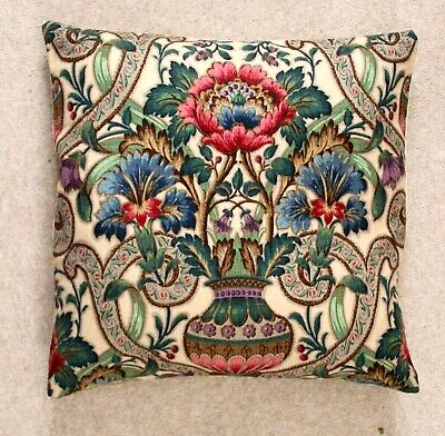 """SANDERSON /""""SUMMER BREEZE/"""" FABRIC CUSHION COVER Reversible 17/""""x17/"""" Linen Red"""