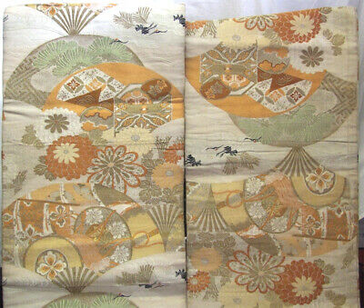 Magnificent Japanese Silk Obi, Peach with Stylised Garden Patterns - OB700