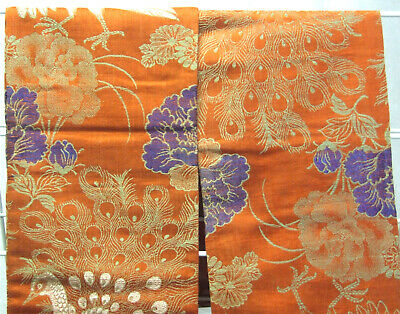 Colourful Vintage Japanese Silk Obi, Peach with Peacocks and Floral - OB710