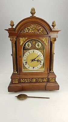 Large Antique Oak 3 Train 8 Gong Musical Westminster Chime W&H Bracket Clock