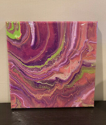 Wall Art Original Abstract Art Home Decor, Handmade Acrylic Pour Painting on Stretched Canvas 10 X 10 Square