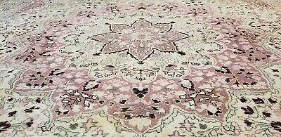Exquisite 1930-1939s Antique Muted Natural Dye Wool Pile Hereke Rug 7x10ft