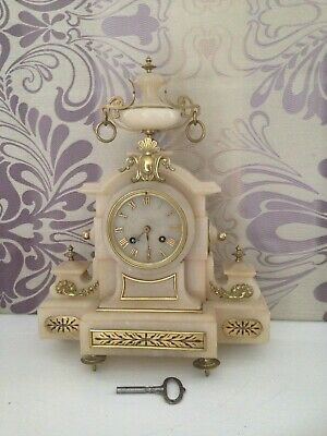 "Vintage Antique Large alabaster stone mantel clock H 16"" x  W 12.5"""