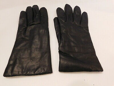 *Designer Ladies Black Leather Winter Gloves Polyester Thinsulate Lining Sze Med