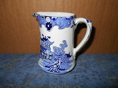 BURLEIGH WARE BLUE AND WHITE WILLOW PATTERN MILK JUG 1930's BURGESS & LEIGH