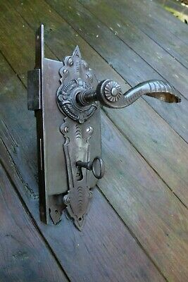 Vintage Antique XL Door Lock With Decorative Handle and Front Covers Handmade