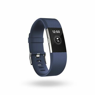 AS-IS Fitbit Charge 2 FB407SBUS Heart Rate Fitness Wristband Blue Small READ