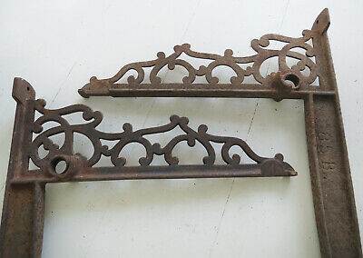 2 Ornate Cast Iron Wall Brackets Shelf Mailbox Address Sign Hanging Basket