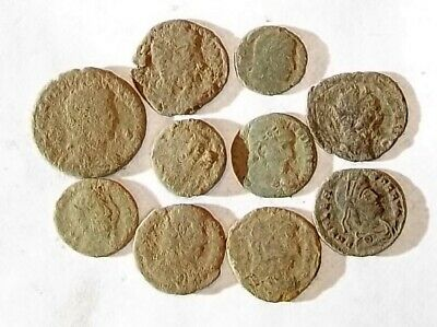 10 ANCIENT ROMAN COINS AE3 - Uncleaned and As Found! - Unique Lot 25703