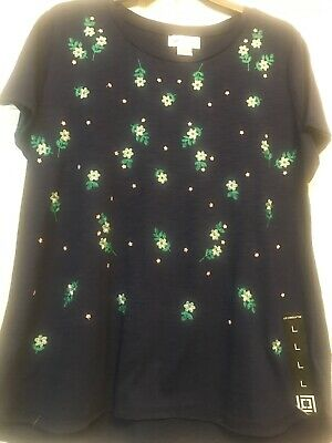 NWT~Ladies Large Top~Navy Blue ~embroidery Floral ~Liz Claiborne~short Sleeves~