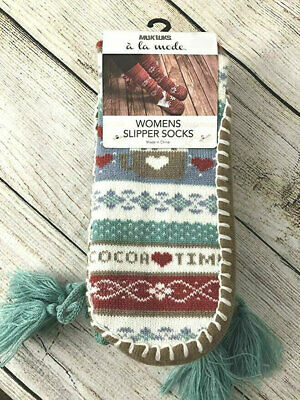MUK LUKS Women's Cocoa Time Slipper Socks Tall Tassels Large/XL  NEW