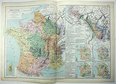 Original Map of The Agricultural Regions of France by Drioux & Leroy Paris 1884