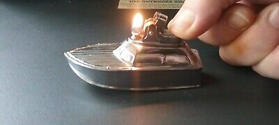 Collectable Cruise Yacht Boat Table Lighter. Chrome. In Working Condition