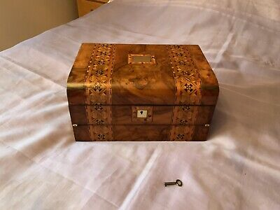 Victorian Tri Fold Writing Slope/ Box/ Workbox With Working Lock & Key