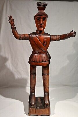 """1870's-1880's WOOD CARVING OF A GERMAN, AUSTRIAN OR FRENCH SOLDIER 31 3/4"""" TALL"""