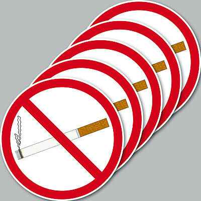 5 Sticker 10cm round Sticker Smoking Verboten Non-Smoking Smoking Shield