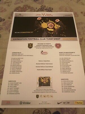Livingston v Hearts SPL.Saturday 26th October 2019.Colour Team Sheet.