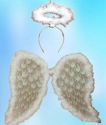 ADULT ANGLE WINGS XMAS SILVER GLITTER WHITE HALO CHRISTMAS FANCY DRESS 46x36cm
