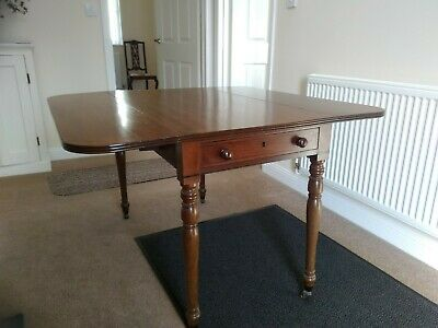 Antique Victorian Pembroke Dining Table and 2 Upholstered Dining Chairs