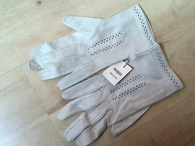 Gazquez Cream Spanish Leather Gloves with Decorative Front and  Cuff  -7.5