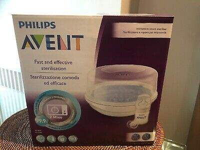 NEW Philips Avent Microwave 4 Bottle Steriliser. Includes One Bottle and Dummy.