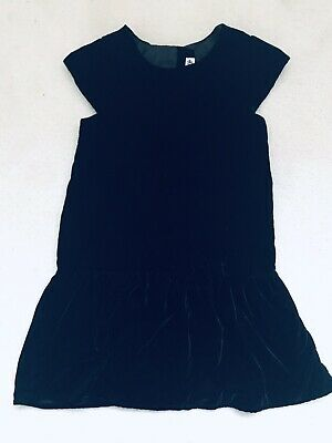 Girls Black Velour Short Slevve Party Dress Age 6-7 Years From H&M