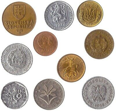 10 Different Coins From The Eastern Europe Countries. Old Collectible Coins