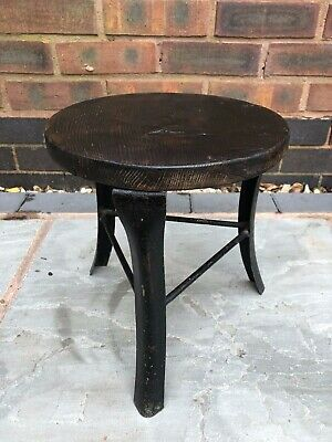 Small round industrial stool - wooden seat, metal frame antique salvage