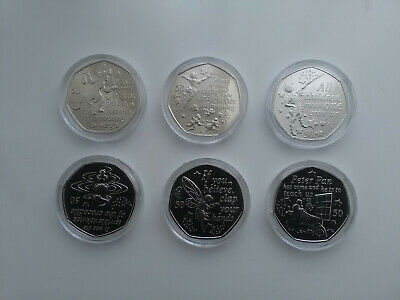 2019 COMPLETE .Peter Pan 50p full Set in capsules fifty pence