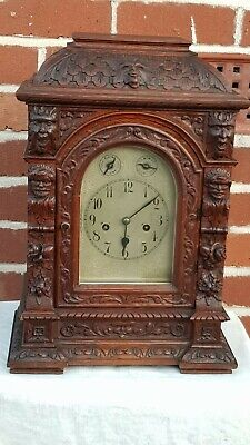 Large Antique Oak 3 Train 5 Rods Musical Westminster Chime Junghan Bracket Clock