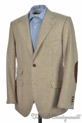 NWT - BRUNELLO CUCINELLI Beige CASHMERE Elbow Patch Blazer Sport Coat  - 40 R