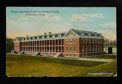 1922 Marine Barracks Puget Sound Navy Yards Bremerton WA Kitsap Co Postcard