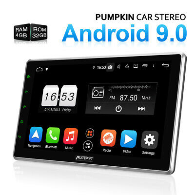 """Pumpkin 10.1"""" Android 9.0 Double DIN Car Stereo 4GB+32GB Bluetooth GPS DAB+ WIFI"""