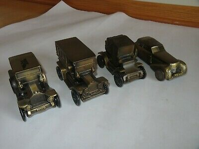 Vintage Banthrico Metal Car Banks Bronze Finish Lot of 4 (S414)