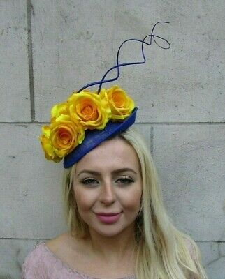 Royal Blue Mustard Yellow Flower Feather Disc Saucer Hat Fascinator Races 7729
