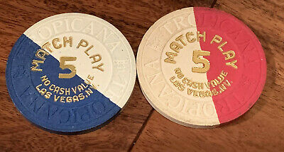 Pair of Tropicana Match Play Pie Casino Chips - Las Vegas 1980s - Book $60-$80
