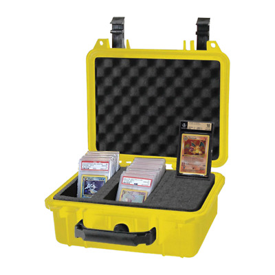 Graded Card Storage Box for PSA BGS Pokemon & Other Cards Yellow Waterproof Case
