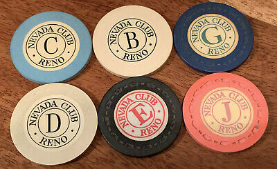 Lot of 6 Vintage Nevada Club Casino Roulette Chips - Reno 1950s - Book $40-$45