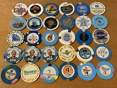 Lot of 30 Diff $1 Las Vegas Casino Chips #2 - Many Vintage Chips - Blowout Deal