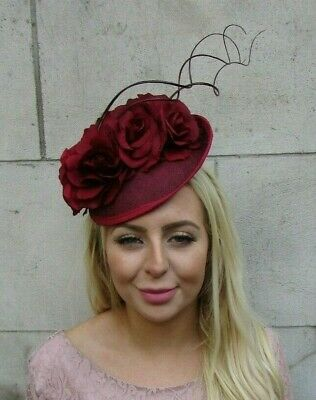 Burgundy Maroon Wine Red Rose Flower Feather Saucer Hat Fascinator Floral 7734