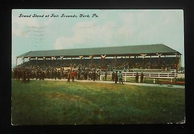 1911 Grand Stand at Fair Grounds Race Track York PA Postcard Pennsylvania