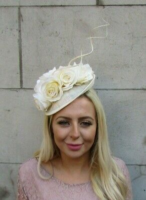Cream Rose Flower Feather Disc Saucer Hat Fascinator Races Wedding Sinamay 7738