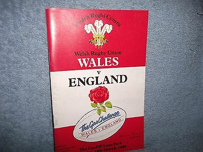 Wales V England 18-3-1989 Rugby Union Programme