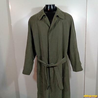 VITO RUFOLO Polynosic Long RAINCOAT Rain Trench Coat Mens 44L 44 L Green liner