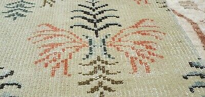 "Rare Antique Cr1900-1939's Muted Dye Wool Pile   Primitive Oushak Rug 4'4""×6'6"""