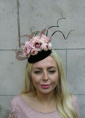 Black Nude & Beige Gold Rose Flower Feather Hat Hair Fascinator Races Latte 7745