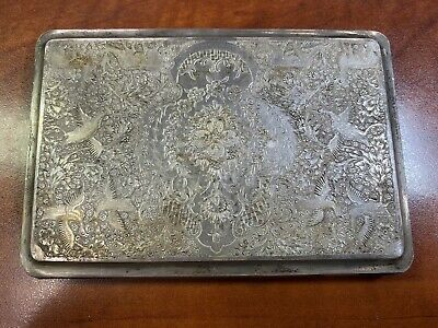 Victorian Antique Sterling Silver Cigarette Holder Floral Birds GORGEOUS! *3E