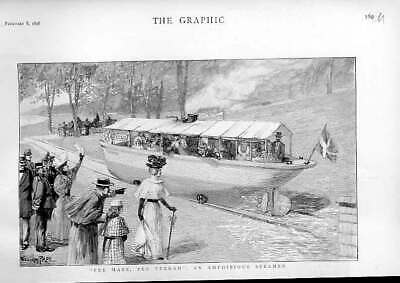 Original Old Antique Print An Amphibious Steamer On Land & Water 1896 Victorian