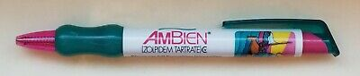 New RARE Ambien TEAL GEL Ink Pen Drug Rep Pharmaceutical Collectible Hard 2 Find