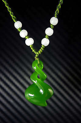 Chinese Natural Bright Green Jade Nephrite Hand Carved Spiral Pendant Necklace
